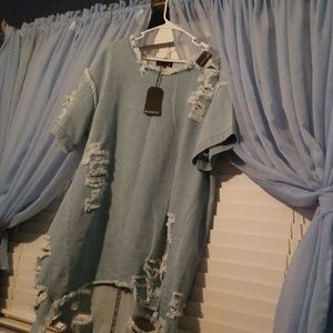 Destructed Denim Dress NEVER WORN